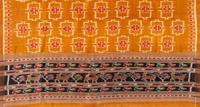 A detail of an orange sari, depicting a pattern of open squares with floral motifs inside, and a triple-border of colored animals below.
