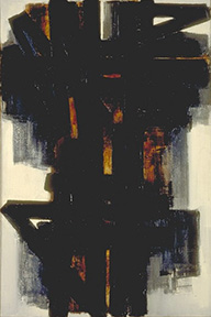An abstract painting consisting of many wide, overlapping black lines, with a hint of orange underneath.