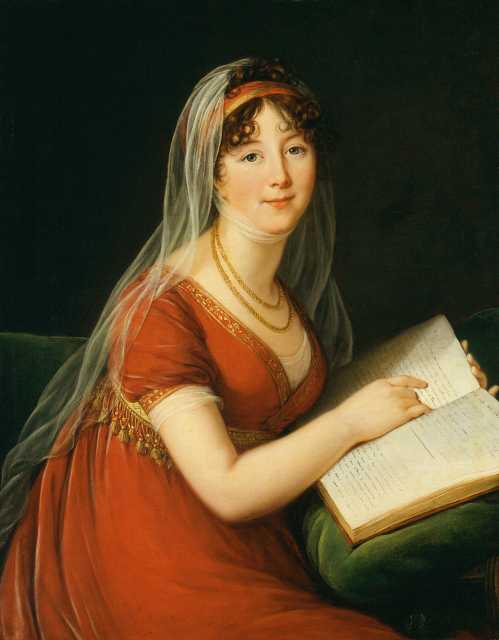 A portrait of a seated woman in a red dress.  She holds a book and looks over her right shoulder, toward the viewer.